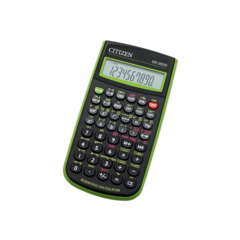 Калькулятор CITIZEN научный SR-260NGR 10+2 разрядный, солнечная батарея, зеленый