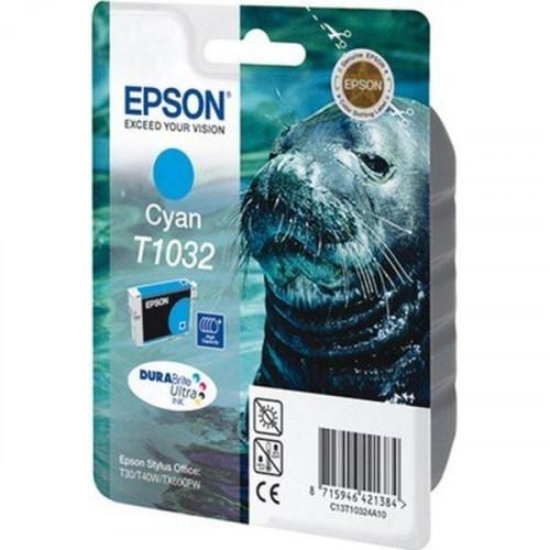 Картридж струйный Epson T1032 C13T10324A10 голубой оригинальный