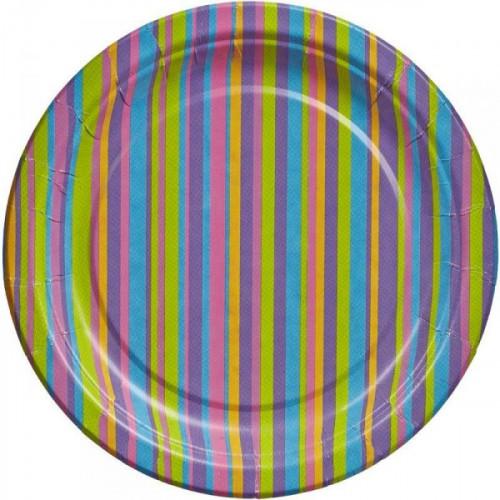 Тарелка одноразовая Джайв бумажная разноцветная с диаметром 230 мм 6 штук в упаковке