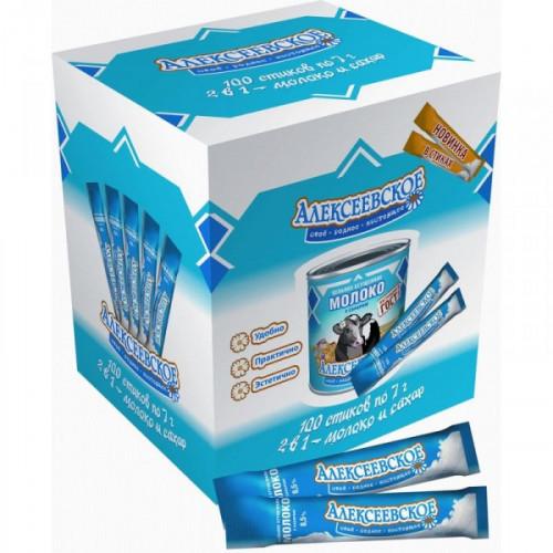 Молоко сгущенное порционное с сахаром Алексеевское 8.5% в стиках 100 штук по 7 грамм