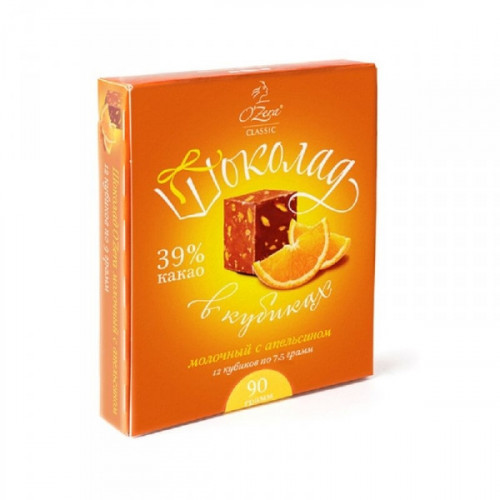 Шоколад OZera молочный с апельсином в кубиках 90 грамм