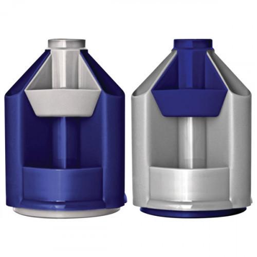 "Подставка-органайзер СТАММ ""Mini Desk"" вращающаяся 10 отделений серый металлик/темно-синий"