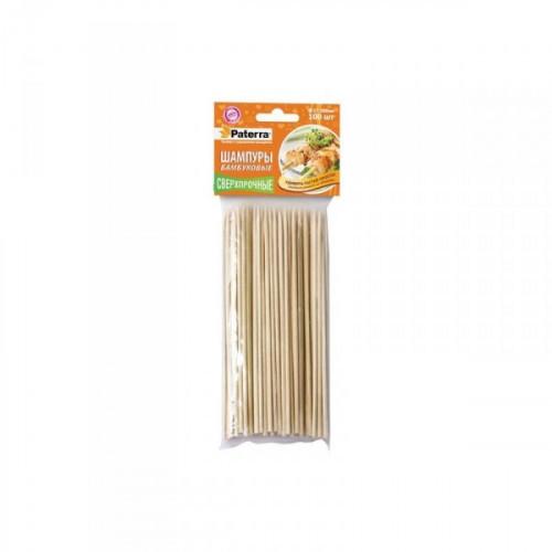 Набор бамбуковых шампуров Paterra с размером 3x200 мм, 100 штук в упаковке